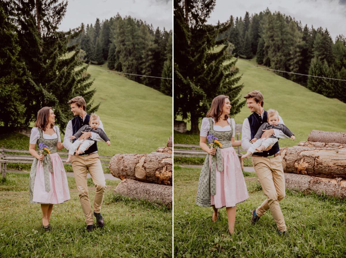 Hochzeitsfotograf Familienfotos Südtirol Corvara Italien Family Berge Tracht
