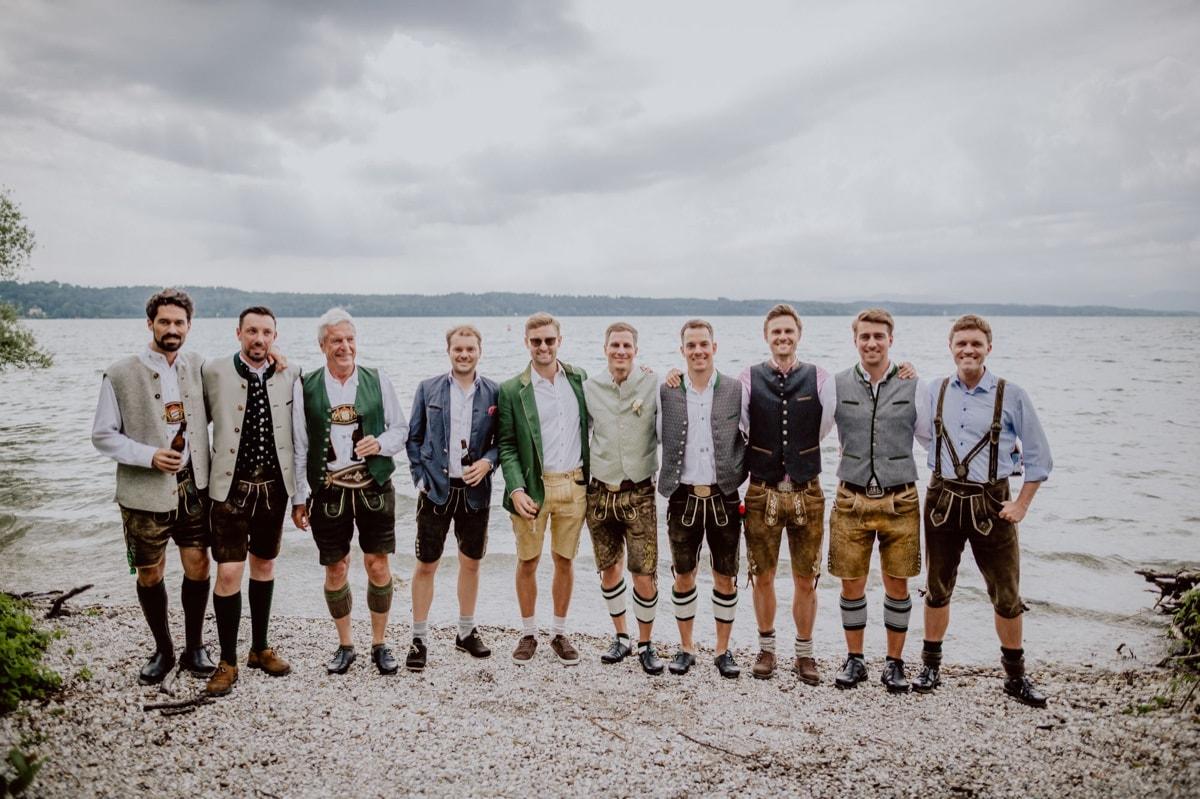 Hochzeitsfotograf Hochzeitsfotos Roseninsel Starnberger See Bayern Tracht Lederhosen