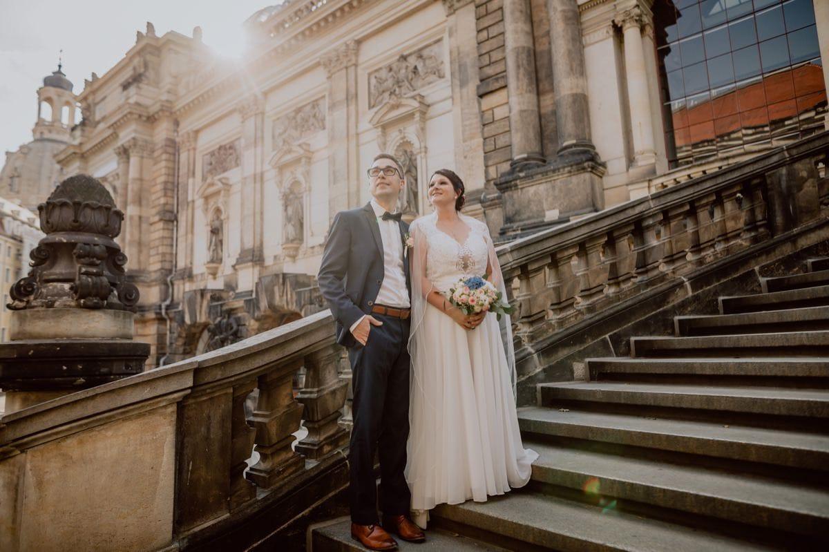 Hochzeitsfotos Dresden Altstadt Brühlsche Terrasse Frauenkirche