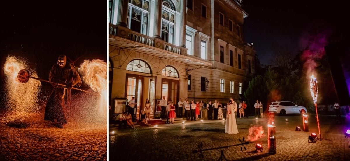 Hochzeitsfotograf Dresden Schloss Albrechtsberg heiraten in Dresden Feuershow