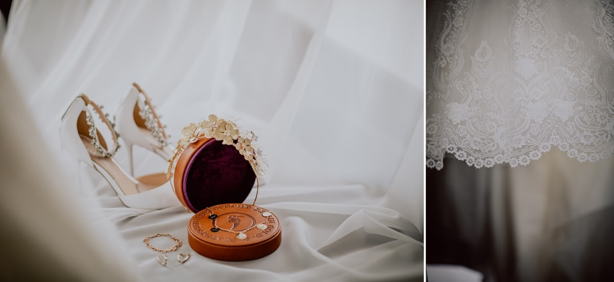 Hochzeitskleid Hochzeitsschmuck Brautschuhe Kette Hochzeitsfotos
