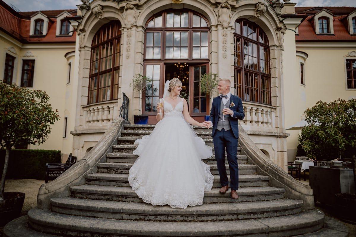 Hochzeitsbilder Brautpaar Schloss Weingut Proschwitz Dresden Meißen
