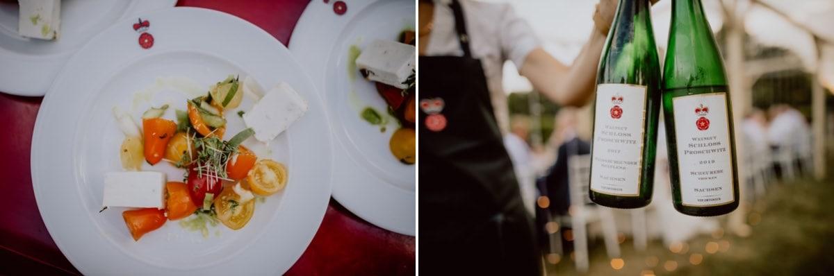 Hochzeitsessen Hochzeitsbilder Stresa Catering Schloss Proschwitz Wein