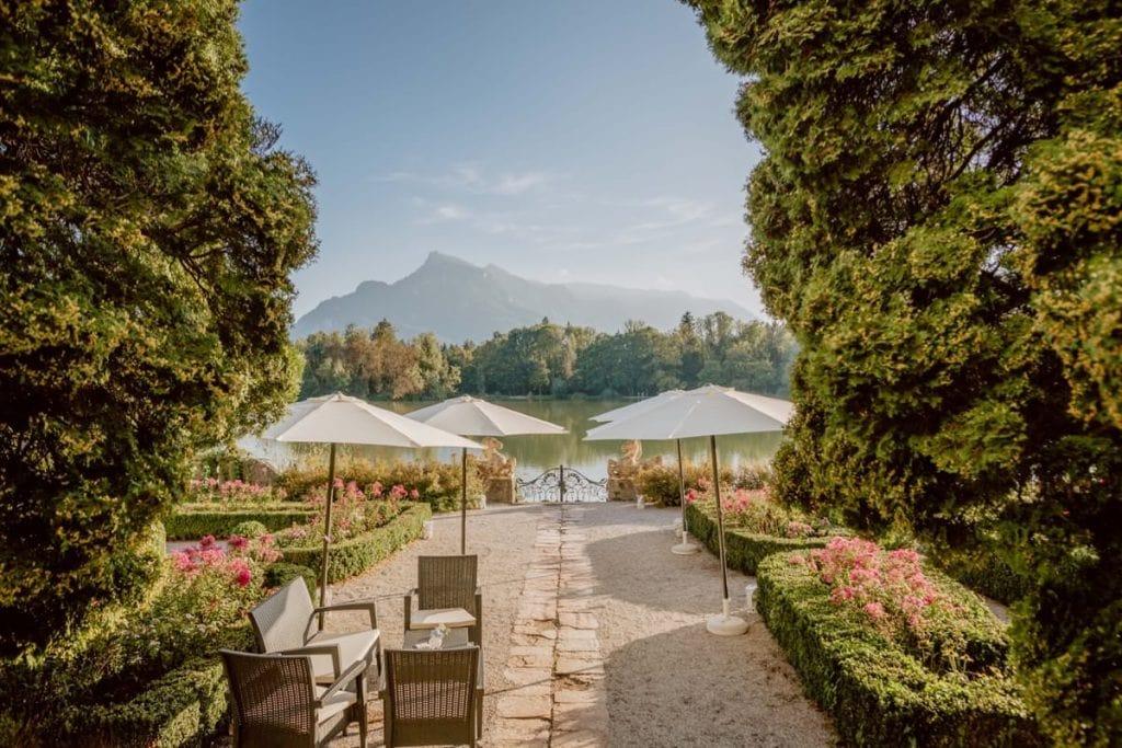 Terrasse Hotel Schloss Leopoldskron Salzburg Österreich heiraten