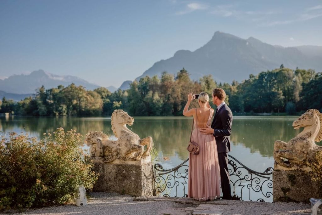 Hochzeitsfeier Salzburg Leopoldskron outdoor wedding